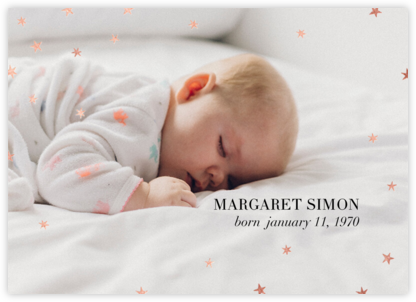 Nightly (Photo) - Celadon/Rose Gold - Paperless Post - Birth Announcements