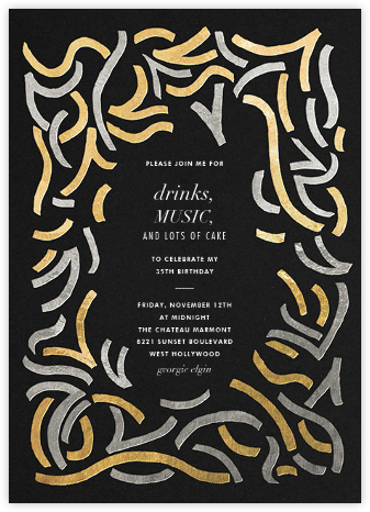 Fuse - Black/Metallic - Kelly Wearstler - Kelly Wearstler Invitations