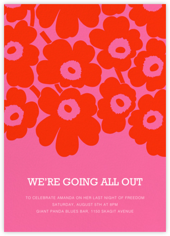Unikko (Tall) - Red/Pink - Marimekko - Bachelorette party invitations