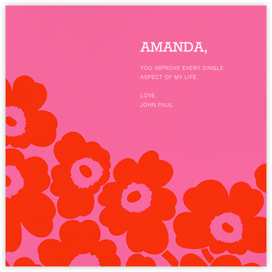 Unikko (Square) - Red/Pink - Marimekko - Valentine's Day Cards