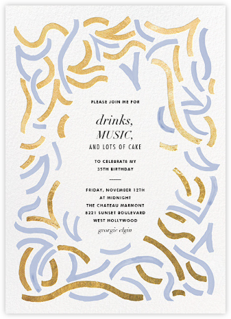 Fuse - Gold/Taro - Kelly Wearstler - Adult Birthday Invitations
