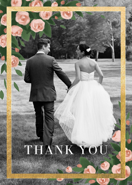 Teablossom (Photo) - Gold/Pink - Paperless Post - Wedding thank you notes