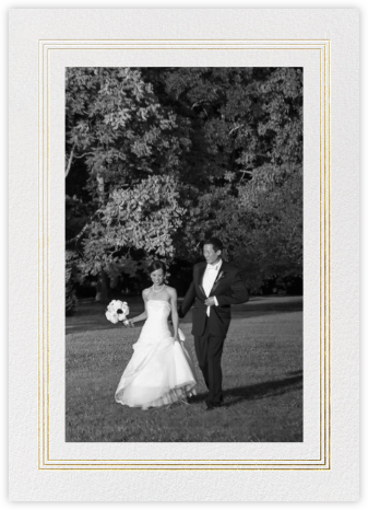 Triple Interior Border (Tall Photo) - Gold - Paperless Post - Wedding thank you cards
