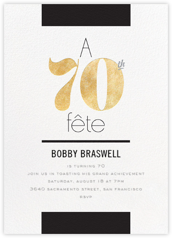 Foiled Fête (Seventy) - Gold - bluepoolroad - Milestone birthday invitations