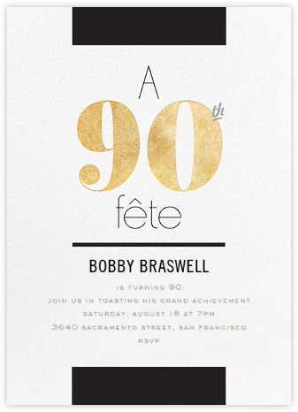 Foiled Fête (Ninety) - Gold - bluepoolroad - Milestone birthday invitations
