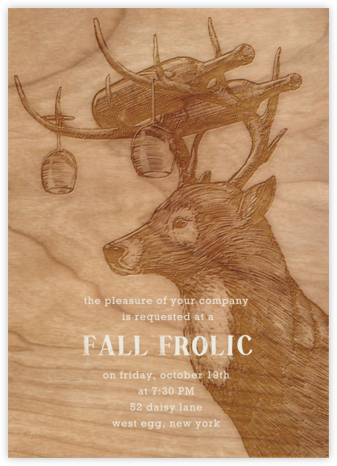 Buck and Wine - Woodgrain - Paperless Post - Autumn entertaining invitations
