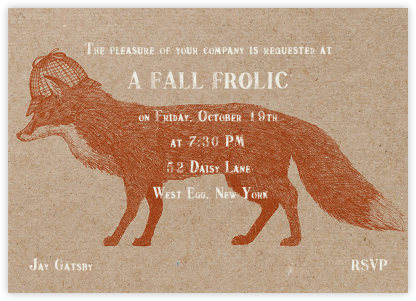 Fox and Hat - Chipboard - Paperless Post - Autumn entertaining invitations