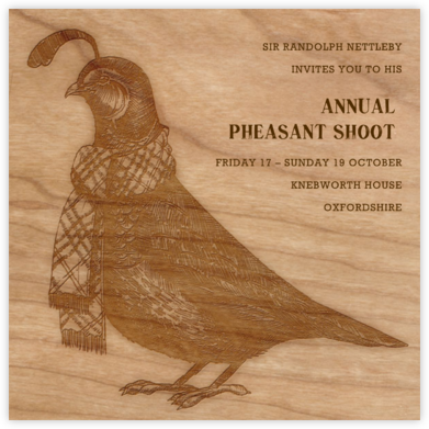 Quail and Scarf - Woodgrain - Paperless Post -