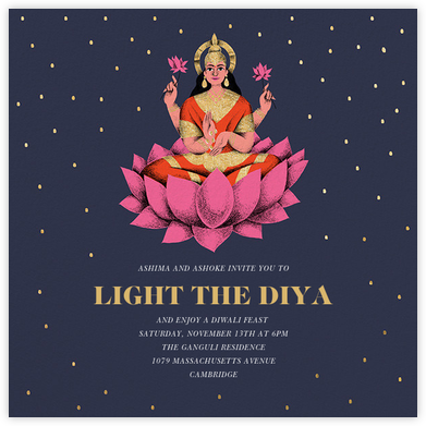 Lakshmi Lotus (Invitation) - Paperless Post - Diwali invitations