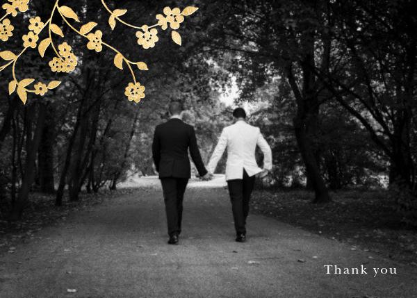 Floral Trellis II (Photo Stationery) - Gold - Oscar de la Renta - Wedding thank you notes