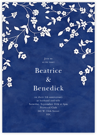 Floral Trellis II - Blue/White - Oscar de la Renta - Celebration invitations