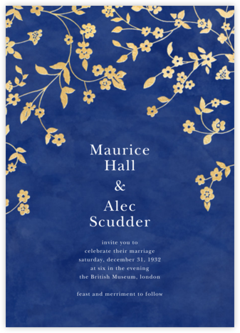 Floral Trellis II - Blue/Gold - Oscar de la Renta - Online Wedding Invitations