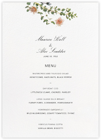 Fleurs Sauvages (Menu) - Paperless Post - Wedding menus and programs - available in paper