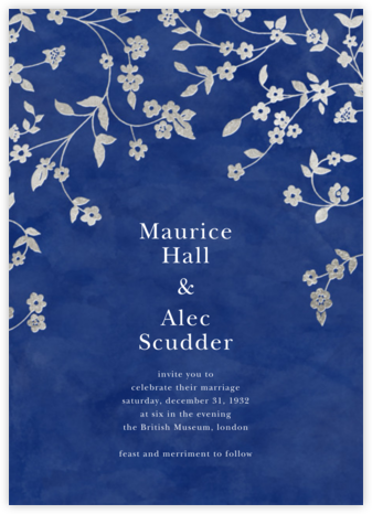 Floral Trellis II - Blue/Silver - Oscar de la Renta - Wedding Invitations