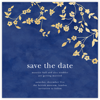 Floral Trellis (Save the Date) - Blue/Gold - Oscar de la Renta - Save the date cards and templates