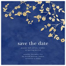 Floral Trellis (Save the Date) - Blue/Gold