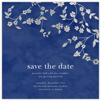 Floral Trellis (Save the Date) - Blue/Silver - Oscar de la Renta - Gold and metallic save the dates