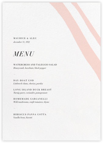 Cherish (Menu) - Meringue - Kelly Wearstler - Wedding menus and programs - available in paper