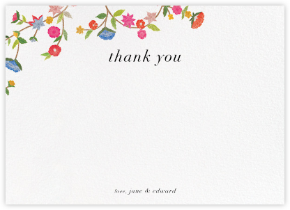 Stitched Floral II - Thank You - Oscar de la Renta - Wedding thank you cards