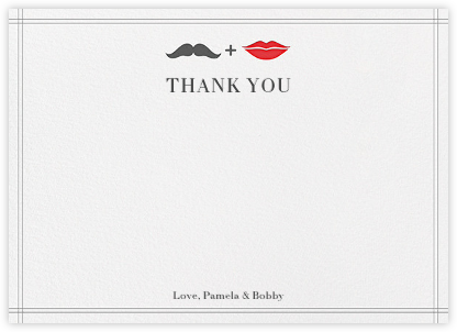 Mr. Stache and Ms. Lips (Wedding Stationery) - Gray - Jonathan Adler - Wedding thank you cards