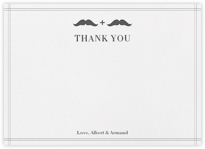 Mr. and Mr. Stache (Wedding Stationery) - Gray - Jonathan Adler - Wedding thank you notes