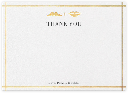 Mr. Stache and Ms. Lips (Wedding Stationery) - Gold - Jonathan Adler -
