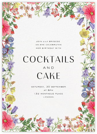 Archival Florals - Liberty - Adult birthday invitations