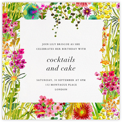 Tresco (Invitation) - Liberty - Milestone Birthday Invitations