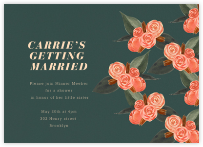 Rosebud - Dark - Paperless Post - Bridal shower invitations