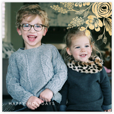 Heather and Lace (Square Photo) - Gold - Rifle Paper Co. - Holiday cards