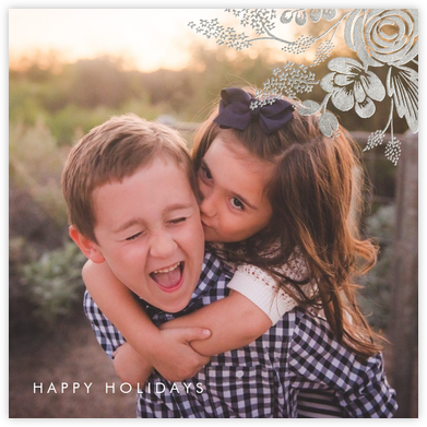 Heather and Lace (Square Photo) - Silver - Rifle Paper Co. - Christmas Cards