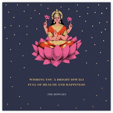 Lakshmi Lotus (Greeting) - Paperless Post - Diwali Cards