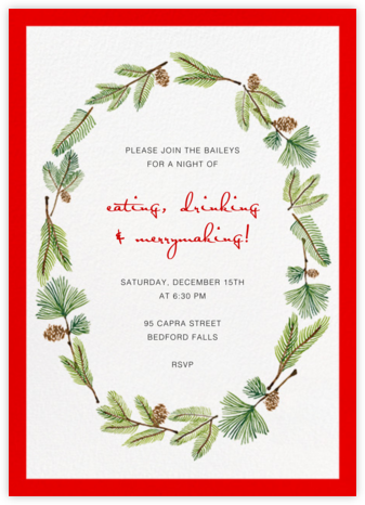 Delicate Firs (Tall) - Paperless Post - Holiday party invitations