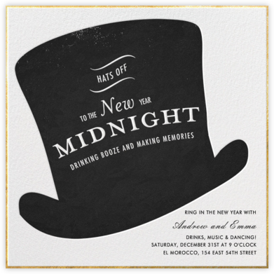 Hats Off - Paperless Post - New Year's Eve Invitations