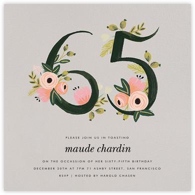 Botanic Numerals (Sixty-Five) - Gray - Rifle Paper Co. -