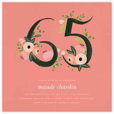 Botanic Numerals (Sixty-Five) - Pink - Rifle Paper Co. -