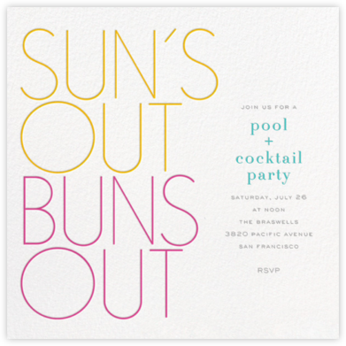 Sun's Out Buns Out - bluepoolroad - bluepoolroad invitations and cards