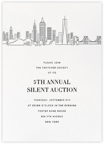 Manhattan Skyline View (Invitation) - White/Black - Paperless Post - Fundraiser Invitations