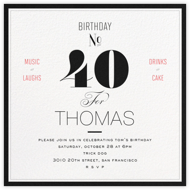 Birthday Number (Forty) - bluepoolroad - Milestone birthday invitations