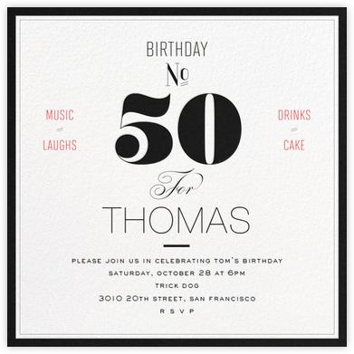 Birthday Number (Fifty) - bluepoolroad - Milestone birthday invitations