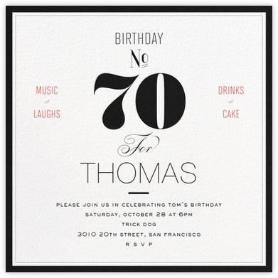 Birthday Number (Seventy) - bluepoolroad - Milestone birthday invitations