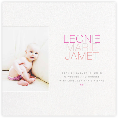 Banner Name (Photo) - Pink - bluepoolroad - Birth announcements