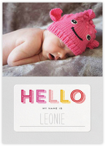 Hello My Name Is - Pink - bluepoolroad - bluepoolroad invitations and cards