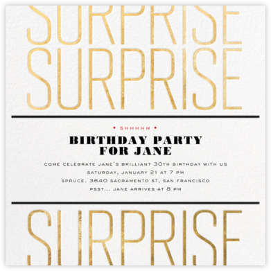Surprise Surprise - Gold - bluepoolroad - Adult birthday invitations