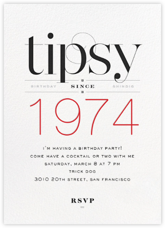 Tipsy Since... - bluepoolroad - Adult birthday invitations