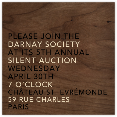 Wood Grain Dark (Square) - Paperless Post - Business event invitations