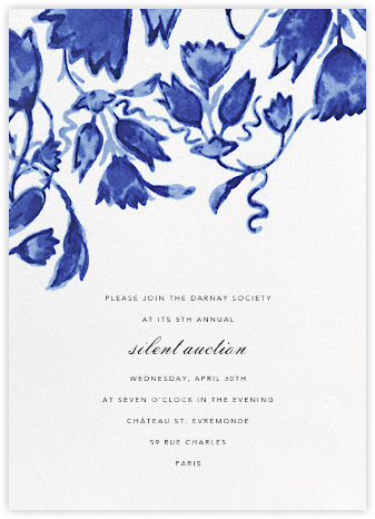 Watercolor Floral - Blue - Oscar de la Renta - Charity and fundraiser invitations