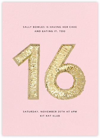 Shine (Sixteen) - Pink - CONFETTISYSTEM - Birthday invitations