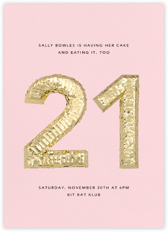 Shine (Twenty-One) - Pink - CONFETTISYSTEM - Milestone birthday invitations