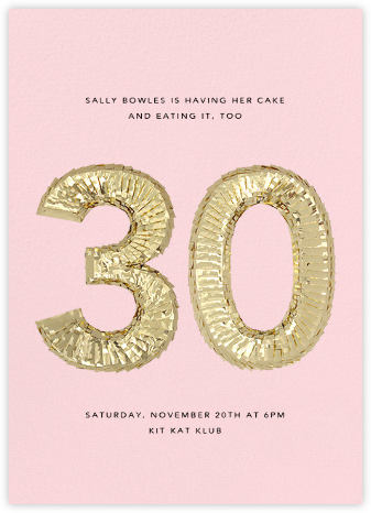 Shine (Thirty) - Pink - CONFETTISYSTEM - Milestone birthday invitations